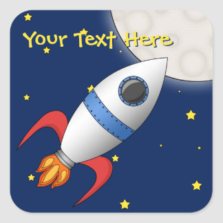Cute Cartoon Space Rocket Ship Square Sticker