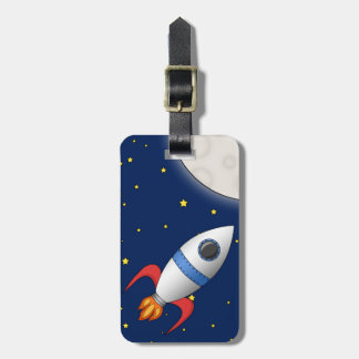 Cute Cartoon Space Rocket Ship Tag For Luggage