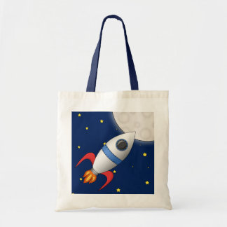 Cute Cartoon Space Rocket Ship Tote Bag