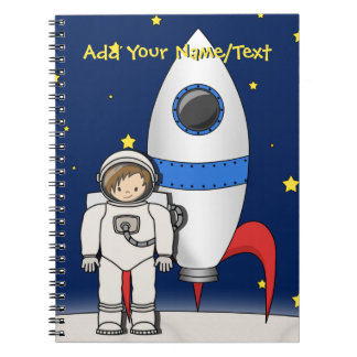 Cute Cartoon Spaceman and Rocket Ship Notebooks