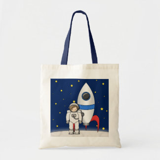 Cute Cartoon Spaceman and Rocket Ship Tote Bag