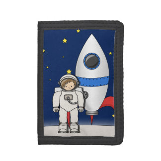 Cute Cartoon Spaceman and Rocket Ship Trifold Wallet