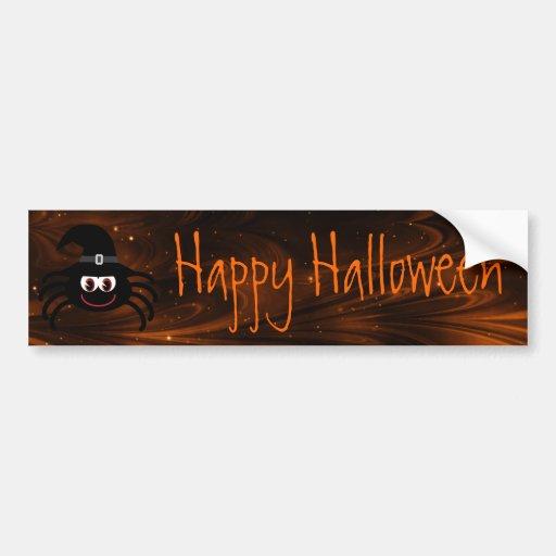 Cute Cartoon Spider Happy Halloween Magical Sky Bumper Stickers