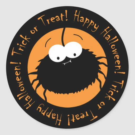 Cute Cartoon Spider Trick or Treat Stickers