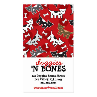 Cute Cartoon Spotted Doggies & Bones Pet Shop Business Card