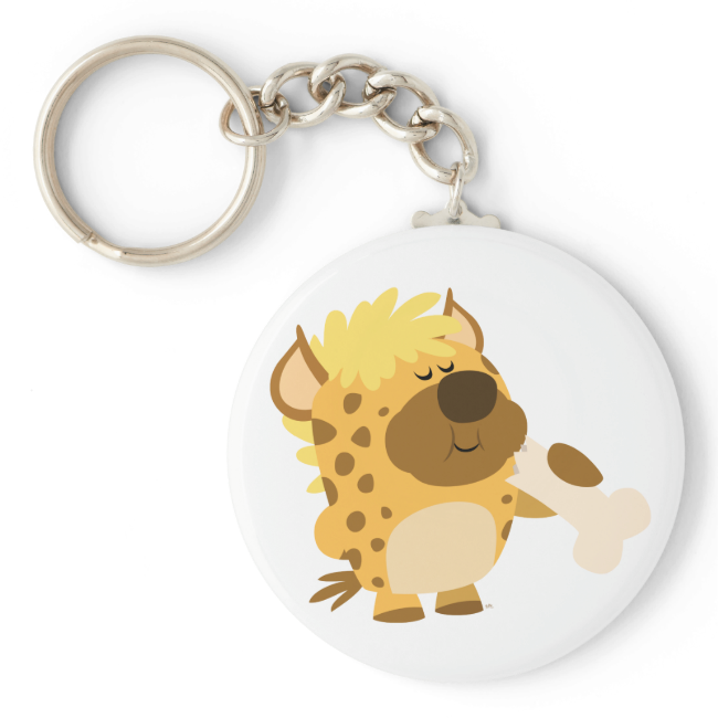 Cute Cartoon Spotted Hyena Crushing a Bone Keyring Basic Round Button Keychain