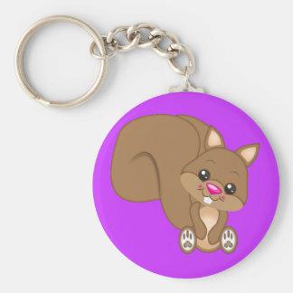 Cute Cartoon Squirrel Basic Round Button Keychain