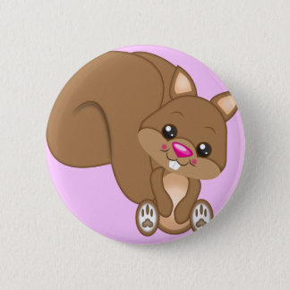 Cute Cartoon Squirrel Button