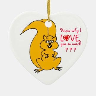 Cute Cartoon Squirrel in Love Christmas Tree Ceramic Ornament