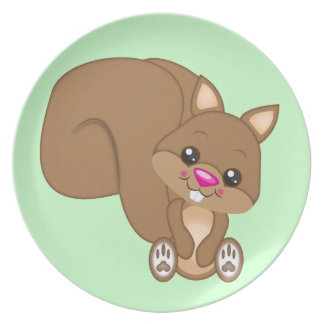 Cute Cartoon Squirrel Party Plate