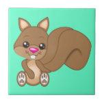 Cute Cartoon Squirrel Small Square Tile