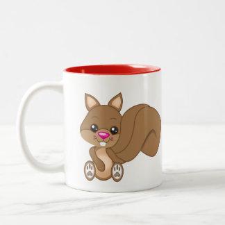 Cute Cartoon Squirrel Two-Tone Coffee Mug