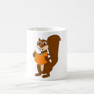 Cute Cartoon Squirrel with Glasses Reading Book Coffee Mug