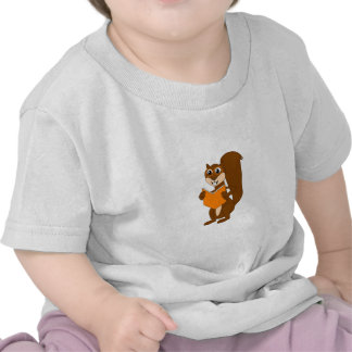 Cute Cartoon Squirrel with Glasses Reading Book Tee Shirt