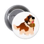 Cute Cartoon St Bernard Button Badge