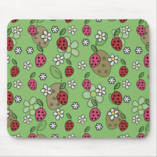 Cute Cartoon Strawberries Green Pattern Mouse Pad