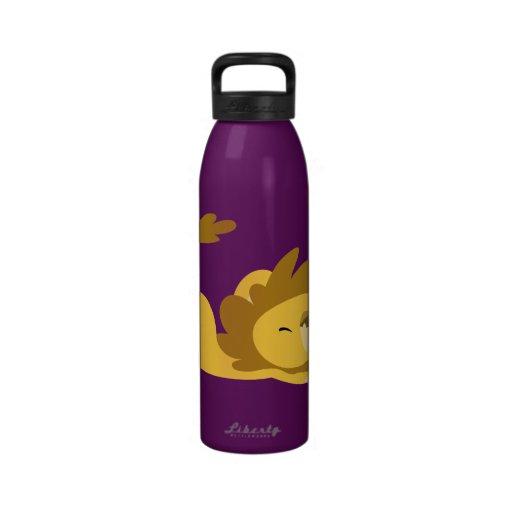 Cute Cartoon Stretching Lion Water Bottle