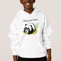 Cute cartoon style black and white panda bear, hoodie