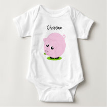 Cute cartoon style illustration of a pink pig, baby bodysuit