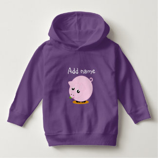 Cute cartoon style illustration of a pink pig, hoodie