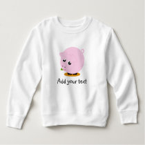 Cute cartoon style illustration of a pink pig, sweatshirt