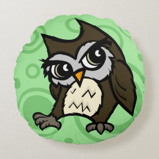 CUTE CARTOON STYLE OWL ROUND THROW PILLOW