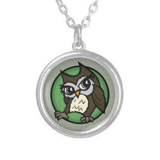 CUTE CARTOON STYLE OWL SMALL ROUND NECKLACE