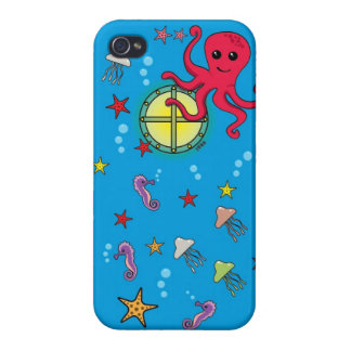 Cute Cartoon Submarine and Sea Animal (Outside) iPhone 4/4S Cover