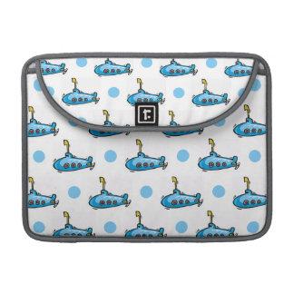 Cute Cartoon Submarine, Baby Blue Polka Dots Sleeve For MacBooks