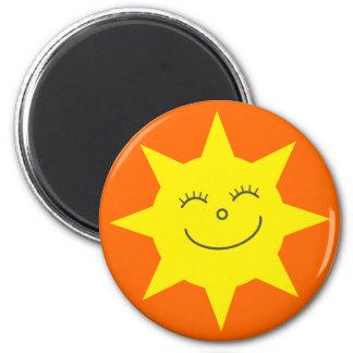 Cute Cartoon Sun Happy Face Orange Custom 2 Inch Round Magnet
