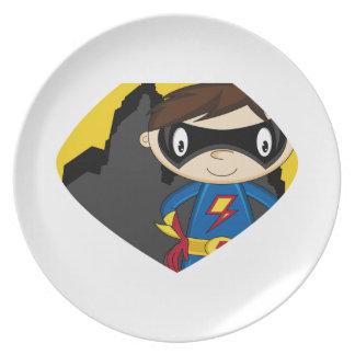 Cute Cartoon Superhero Dinner Plate