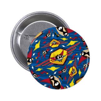 Cute Cartoon Superhero Pattern Pinback Button