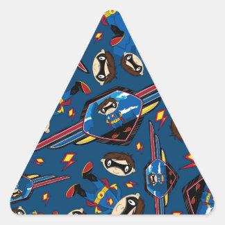 Cute Cartoon Superhero Pattern Triangle Sticker