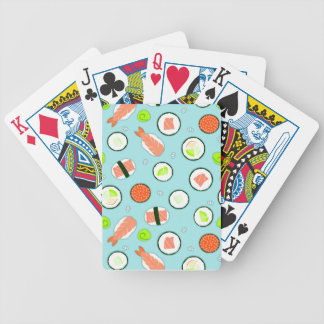 Cute Cartoon Sushi Pattern Blue Bicycle Playing Cards