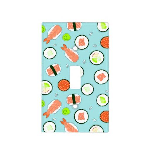 Cute Cartoon Sushi Pattern Blue Switch Plate Cover Zazzle