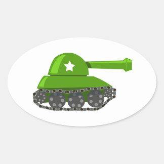 Cute Cartoon Tank Oval Sticker