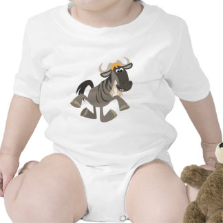 Cute Cartoon Tap Dancing Wildebeest Baby Shirts