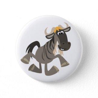 Cute Cartoon Tap Dancing Wildebeest Button Badge zazzle_button