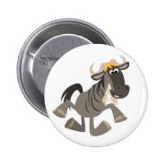 Cute Cartoon Tap Dancing Wildebeest Button Badge