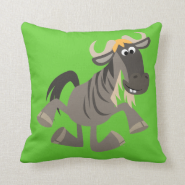 Cute Cartoon Tap Dancing Wildebeest Pillow