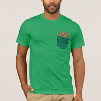 Cute Cartoon Teddy Bear in Pocket T-Shirt