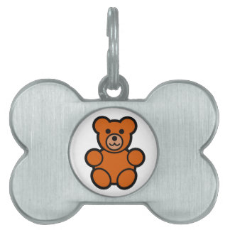 Cute Cartoon Teddy Bear Pet Name Tag