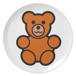 Cute Cartoon Teddy Bear Dinner Plate