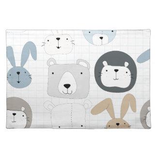 Cute cartoon teddy bear toddler and rabbit bunny cloth placemat