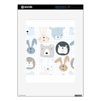 Cute cartoon teddy bear toddler and rabbit bunny decal for the iPad