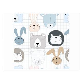 Cute cartoon teddy bear toddler and rabbit bunny postcard