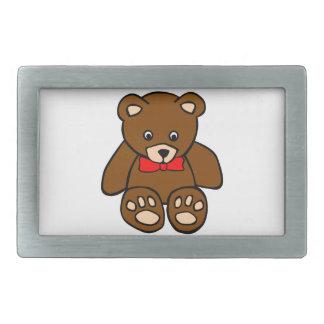 Cute Cartoon Teddy Bear Wearing Red Bow Tie Belt Buckles