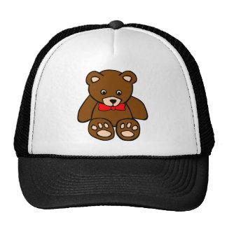 Cute Cartoon Teddy Bear Wearing Red Bow Tie Trucker Hats