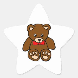Cute Cartoon Teddy Bear Wearing Red Bow Tie Star Sticker