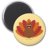 Cute Cartoon Thanksgiving Turkey 2 Inch Round Magnet